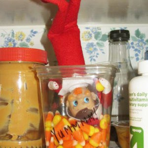 elf on the shelf with candy
