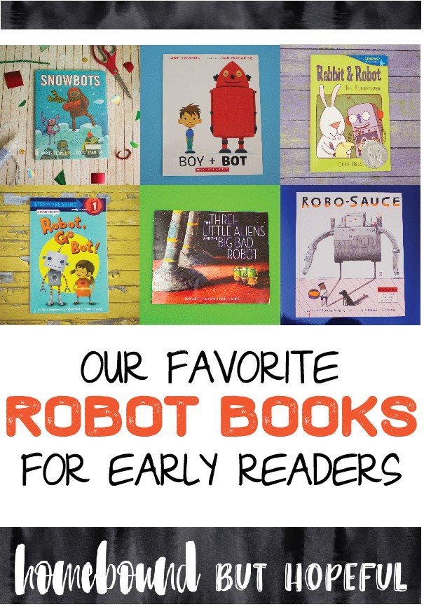 If your kids LOVE reading about robots like mine do, here are some great robot themed books for young readers we suggest checking out!