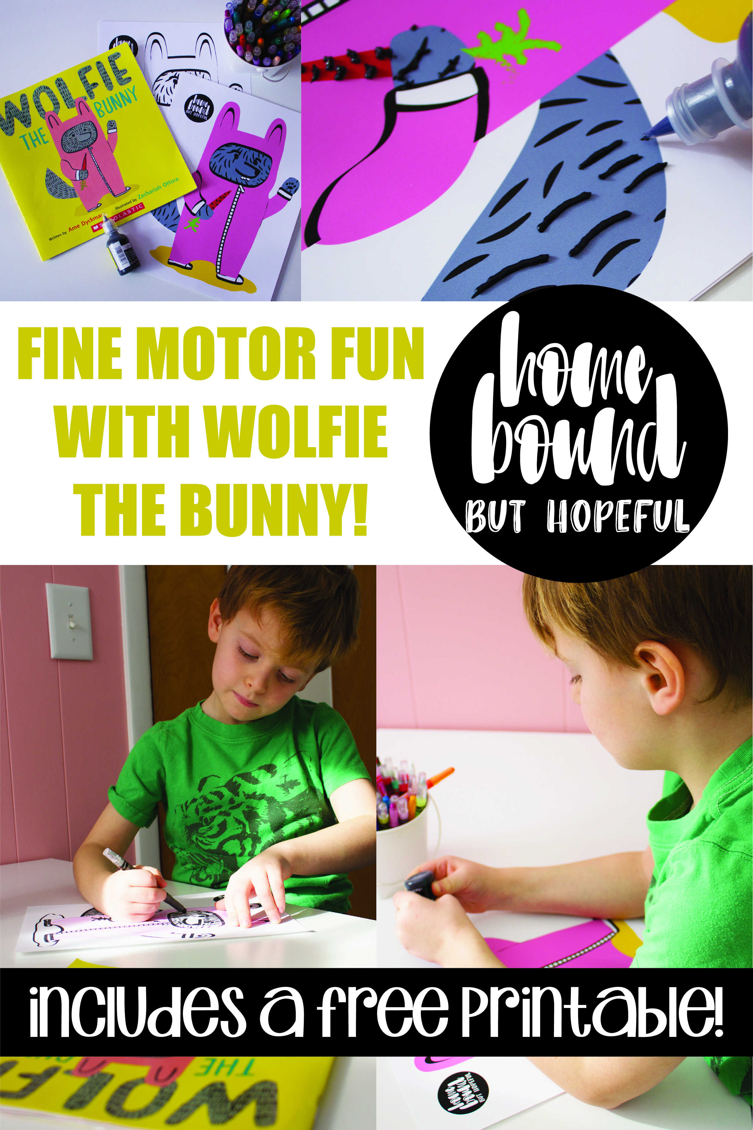 Disguise a little fine-motor hand-strengthening activity as a craft inspired by a popular picture book! Early writers will love creating their own Wolfie the Bunny, while helping their hands stay strong for the important task of writing.