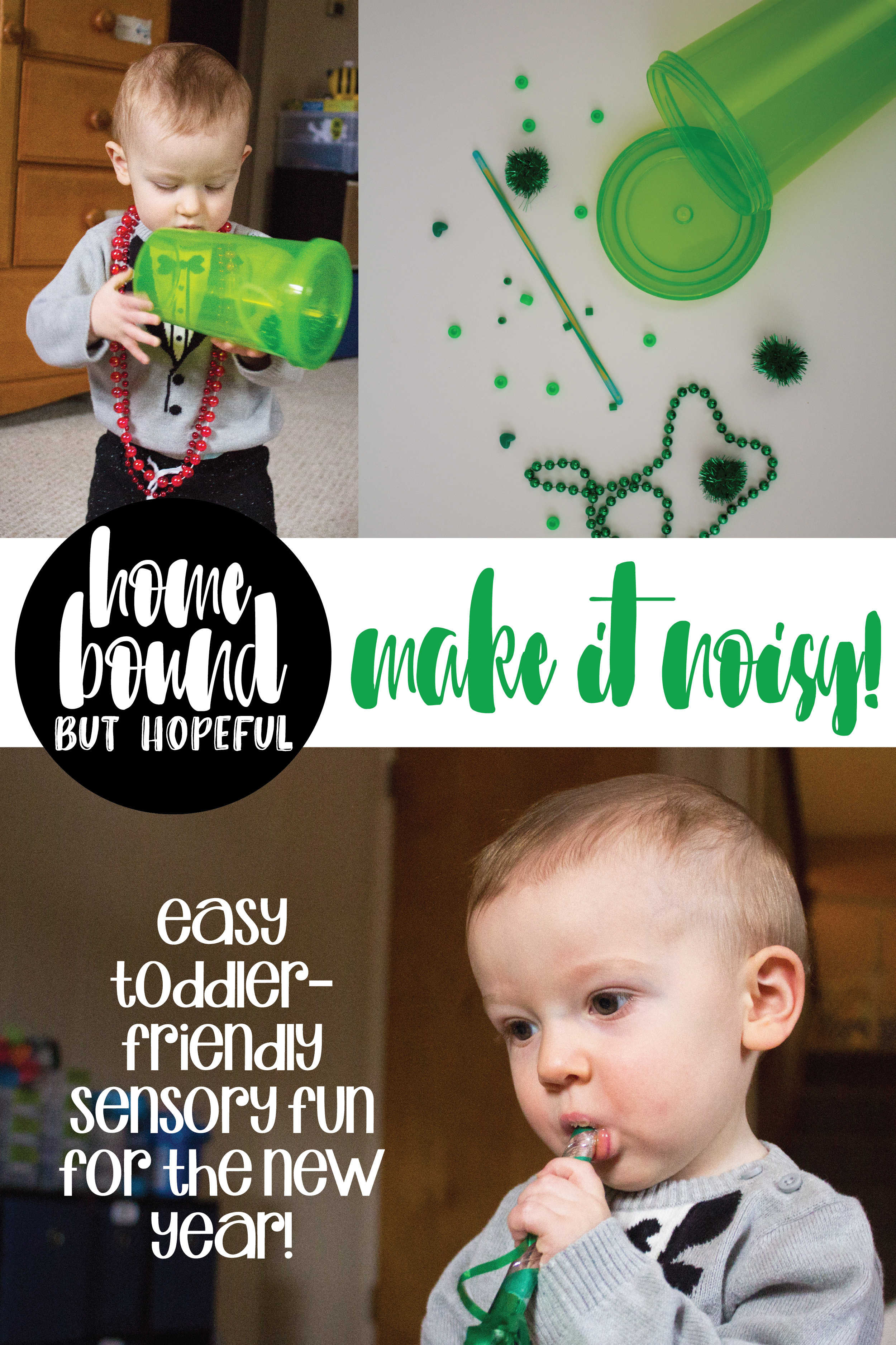 We put together a super simple New Year's sensory playkit for my toddler- you can quickly adapt this idea to any holiday and have some noisy fun together!