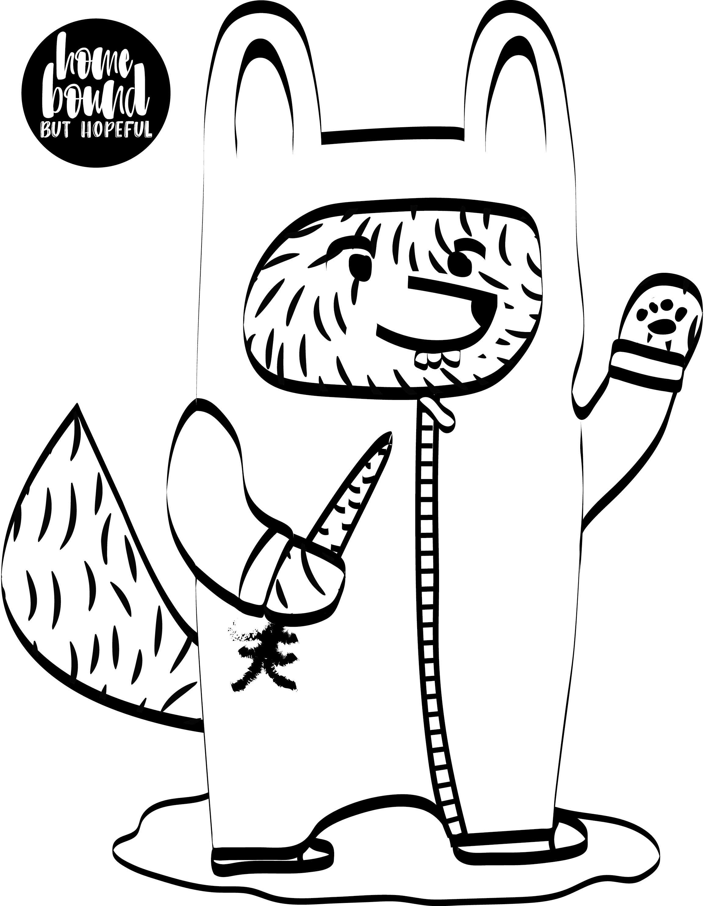 black and white wolfie the bunny printable